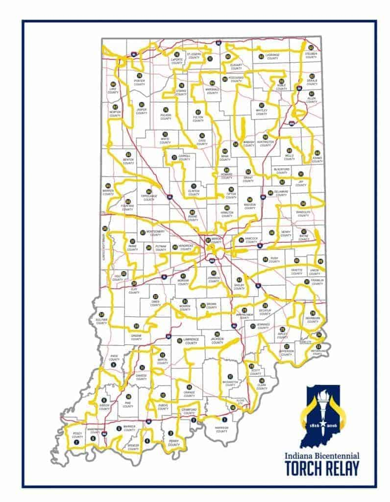 Indiana Torch Relay Route Map