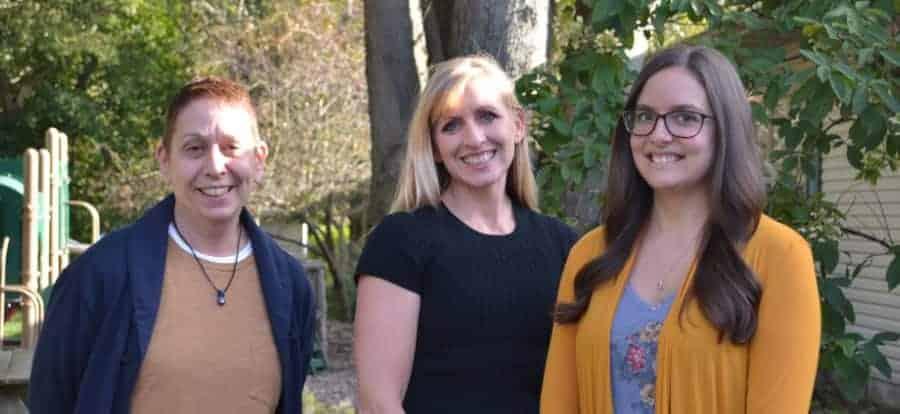 Dunebrook CAC staff Beni Miller, Angie Marsh, and Meghan Mahaffy