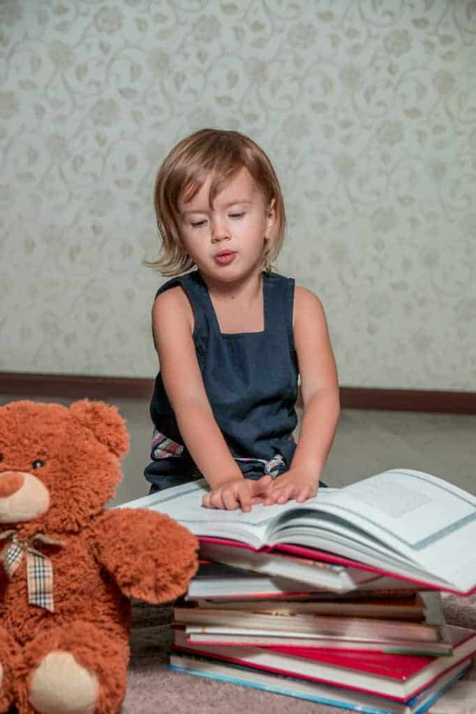 Child reads story